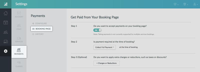 Enabling Payments on the Booking Page through the Setmore web app