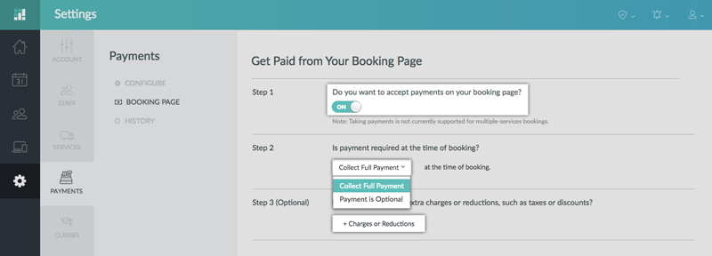 Specifying if payments is optional or mandatory at the time of booking
