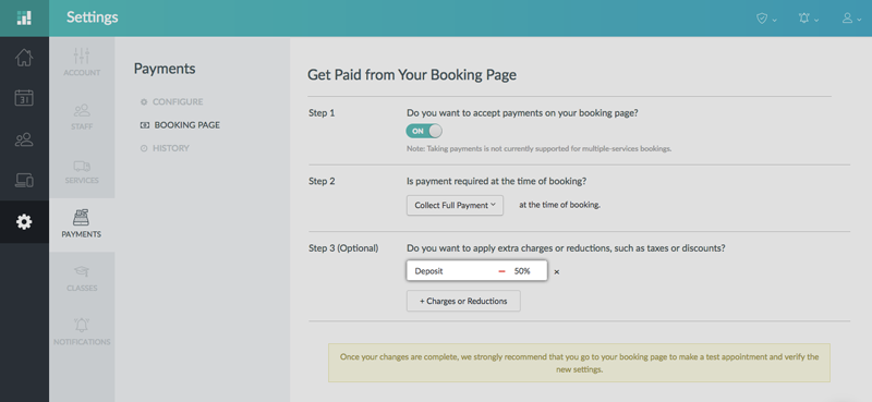 The reduction applied for payments on the Booking Page