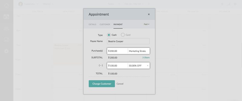 Generating an invoice for the due amount after the collecting the deposit