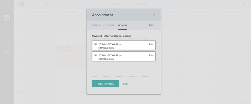 Payment history with the deposit and rest of the service fee