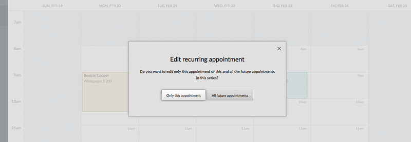 The edit recurring appointment window