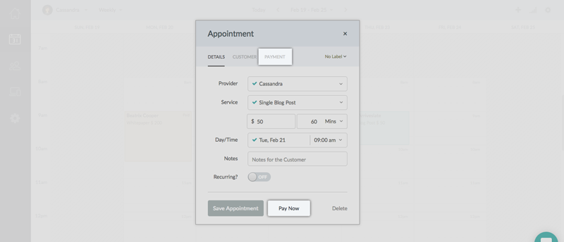 The Payment tab for an appointment belonging to a recurring series