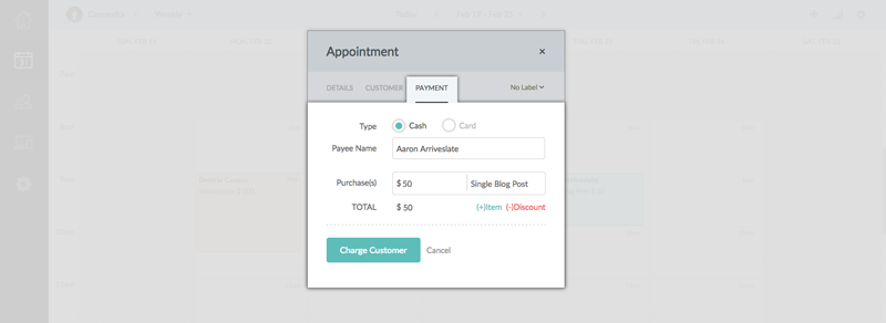 Entering the payment details and clicking the Charge Customer button