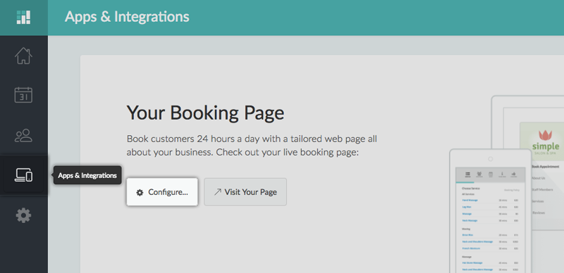 The Configure button to update the Booking Policies