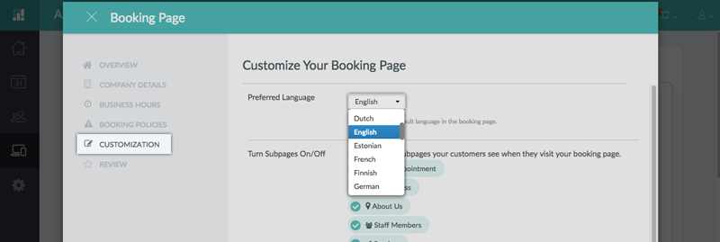 Choosing a preferred language for the Booking Page