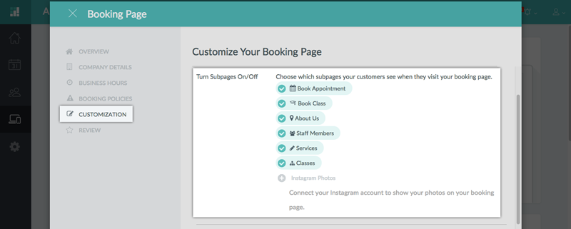 Turning the Subpages on/off for the Booking Page