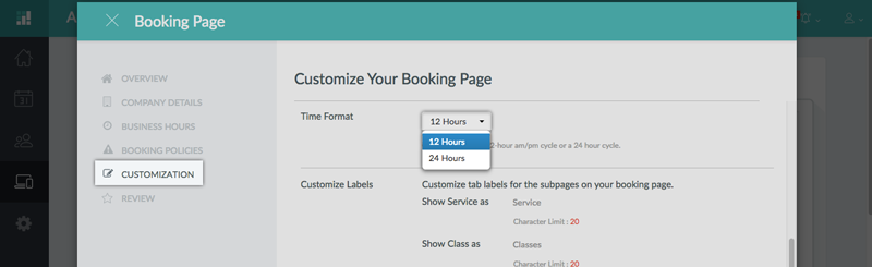 Specifying the time format in the Booking Page