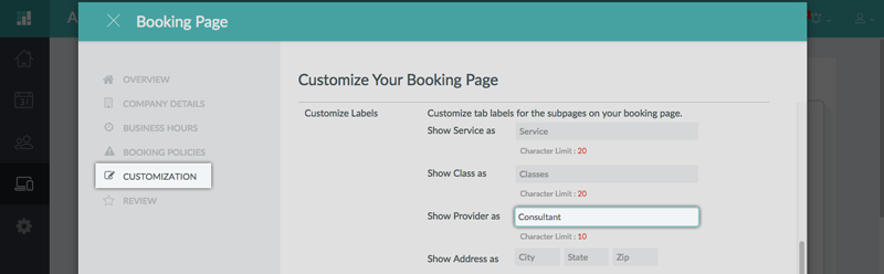 Renaming labels on the Booking Page