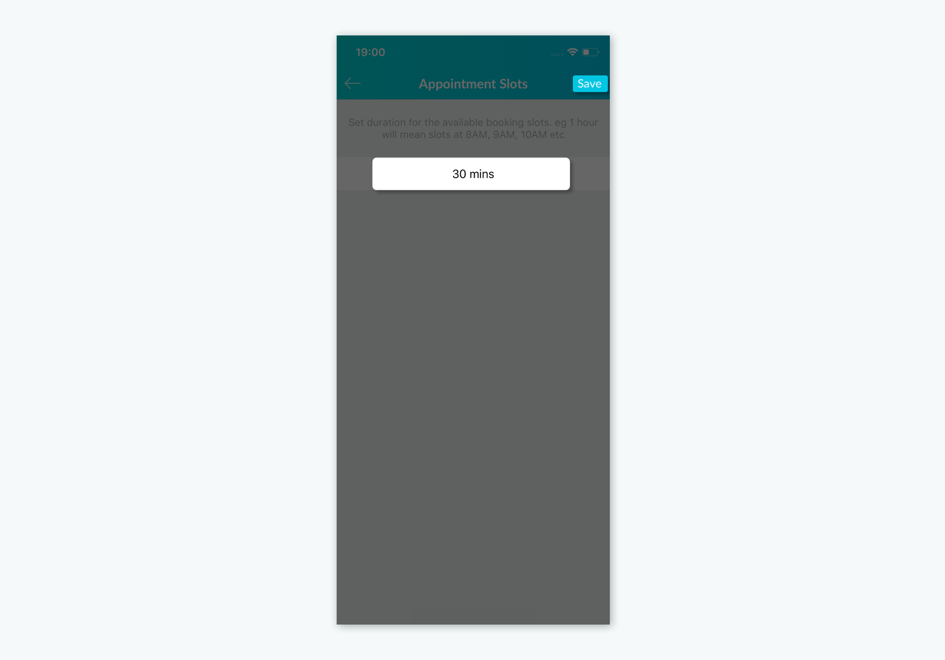 Configuring the Appointment Slot size in the Setmore mobile app