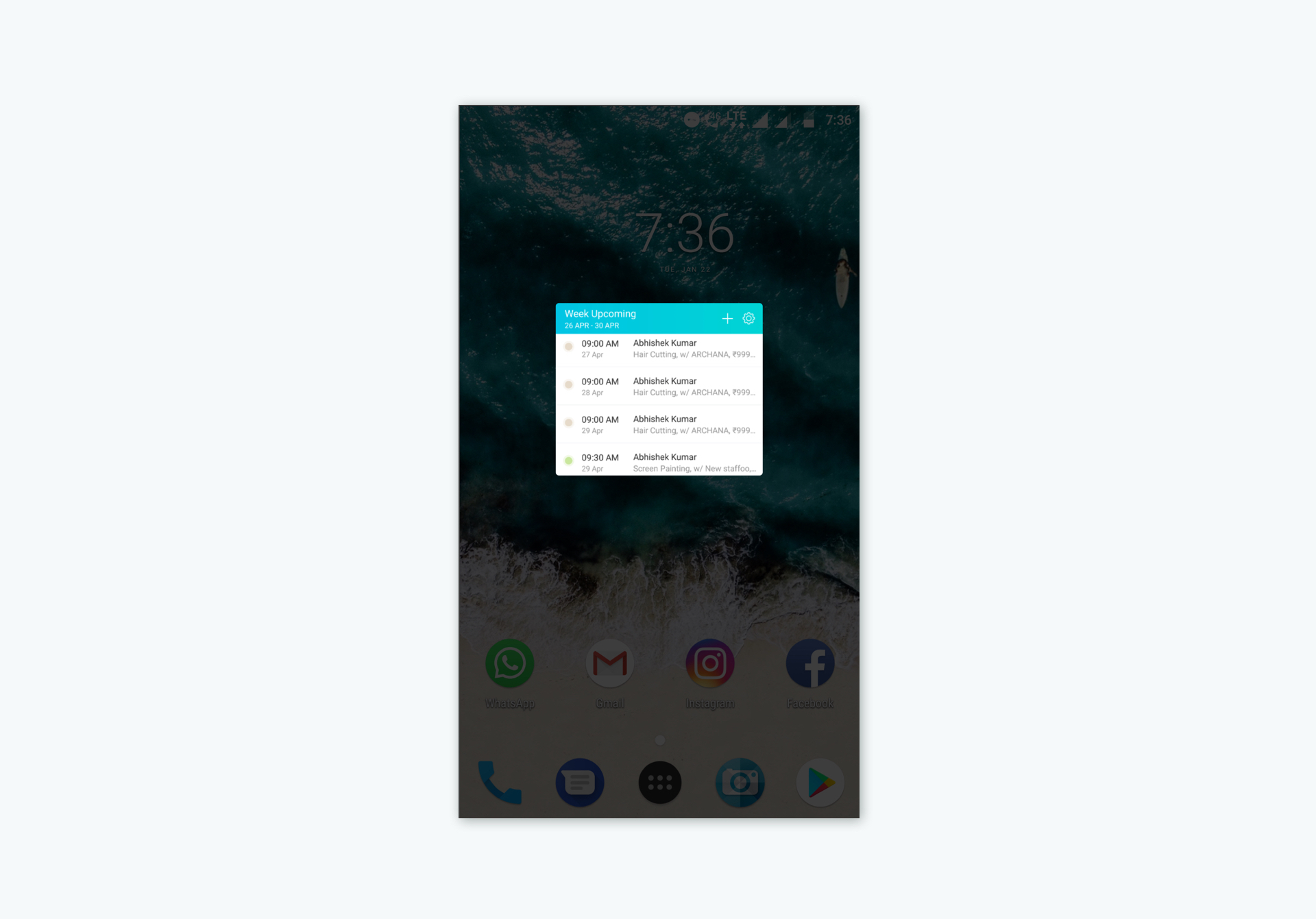 Adding the Setmore widget to your Android homescreen