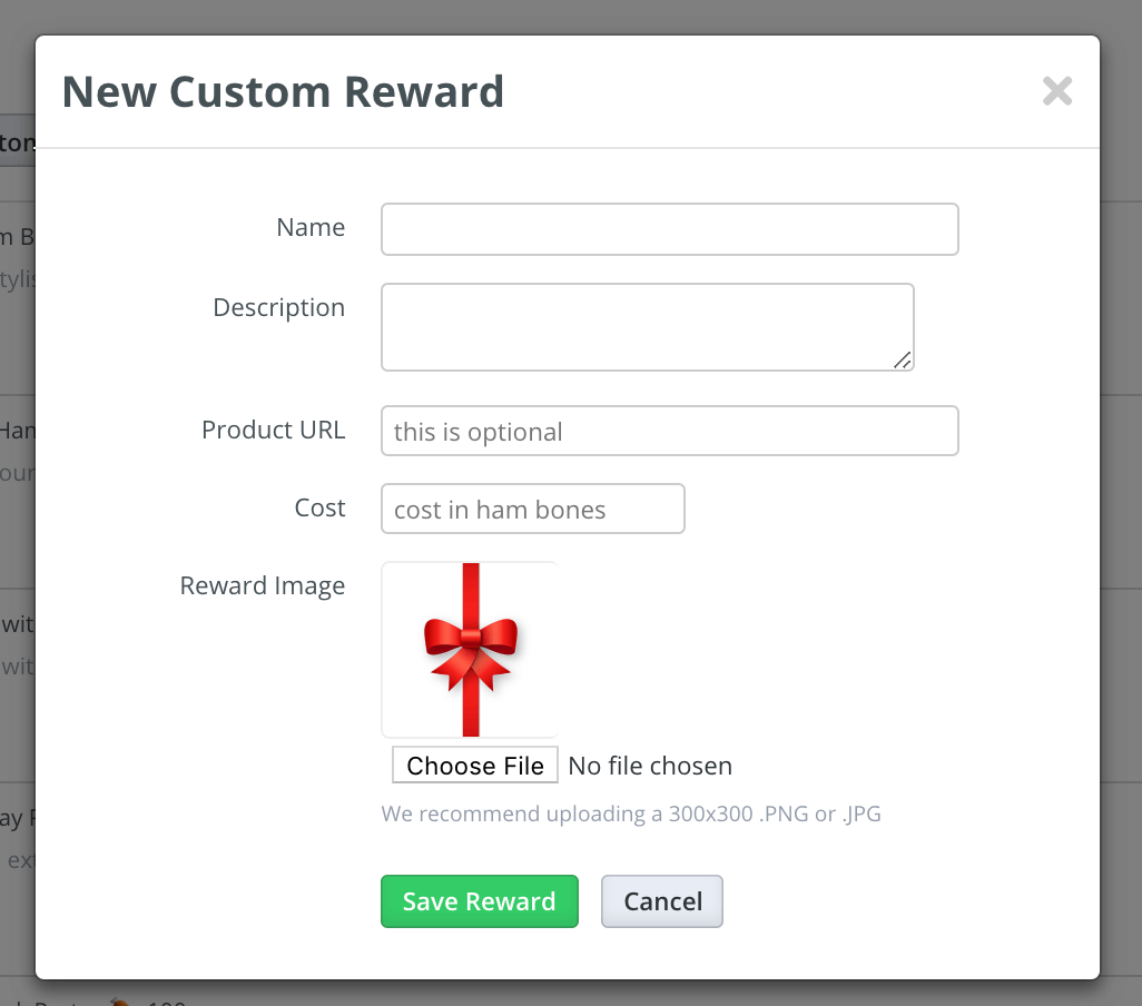 Dialogue pop-up after clicking on New Custom Reward button prompting admin to fill in fields for the reward.